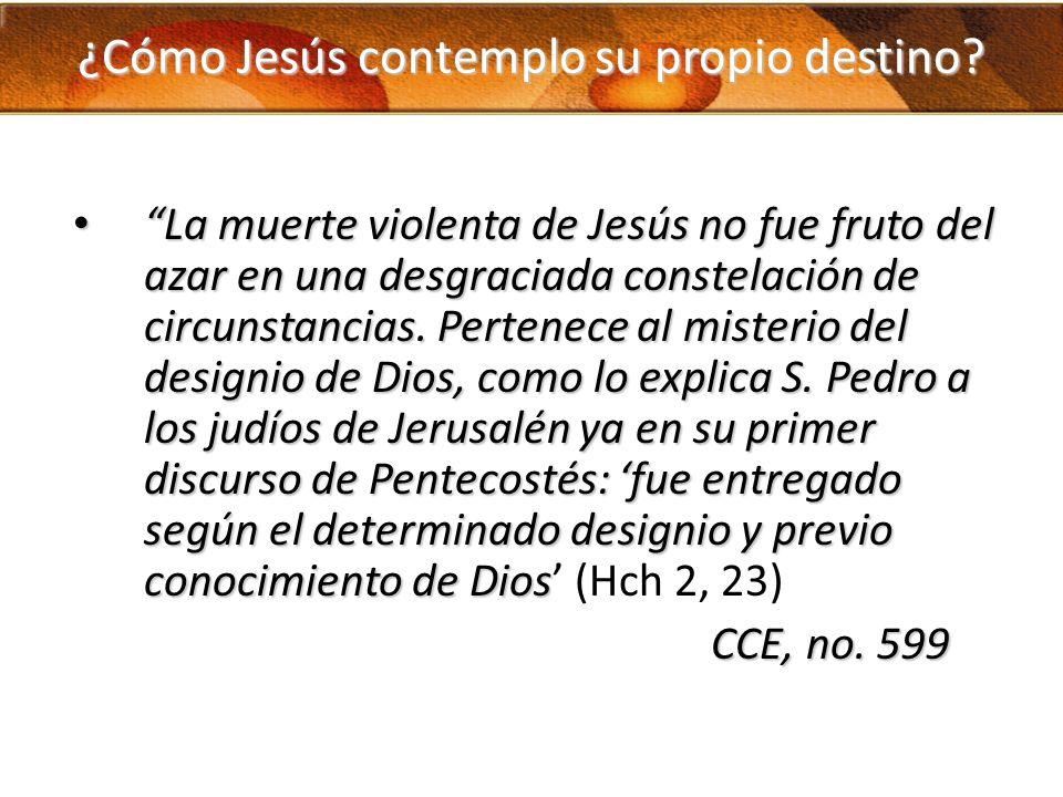 ¿Cómo Jesús contemplo su propio destino? La muerte violenta de Jesús no fue fruto del azar en una desgraciada constelación de circunstancias. Pertenec