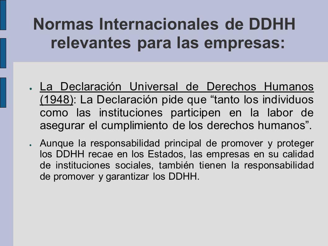 Normas Internacionales de DDHH relevantes para las empresas: La Declaración Universal de Derechos Humanos (1948): La Declaración pide que tanto los individuos como las instituciones participen en la labor de asegurar el cumplimiento de los derechos humanos.