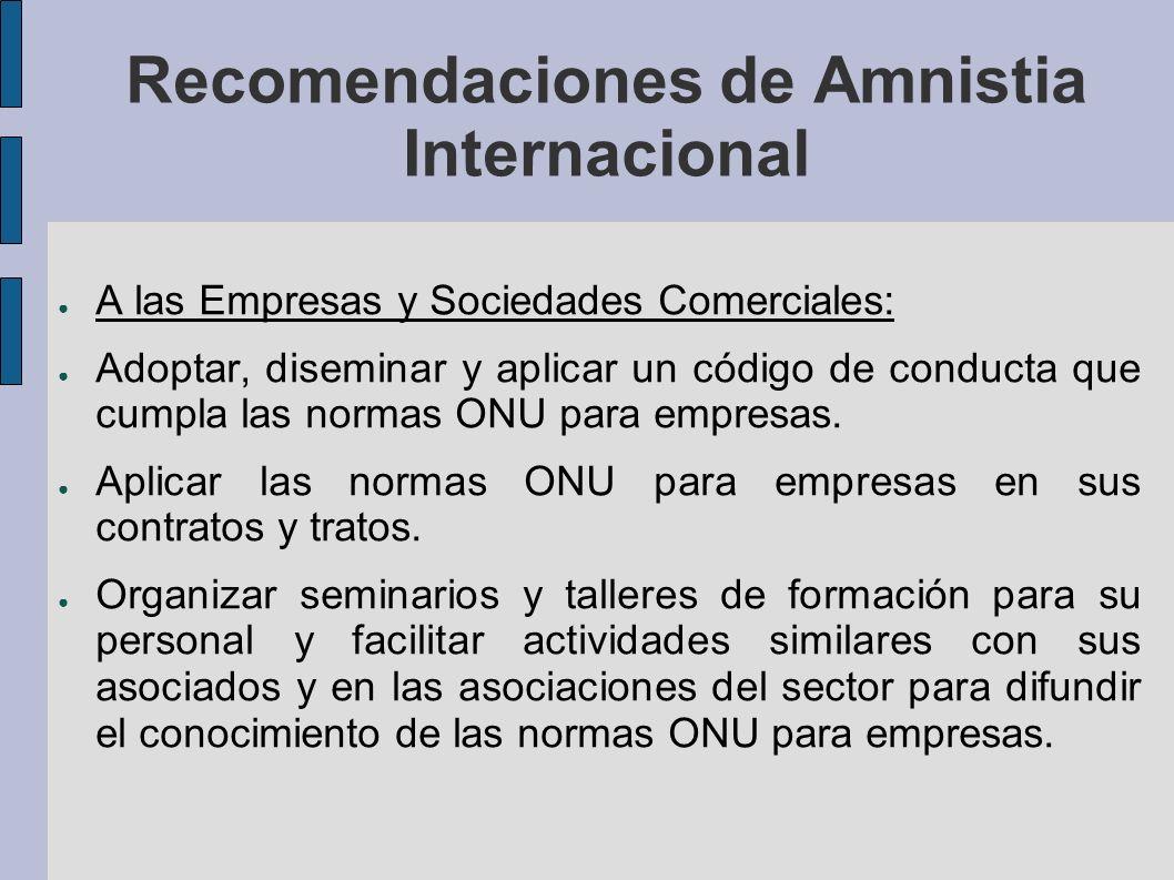 Recomendaciones de Amnistia Internacional A las Empresas y Sociedades Comerciales: Adoptar, diseminar y aplicar un código de conducta que cumpla las normas ONU para empresas.