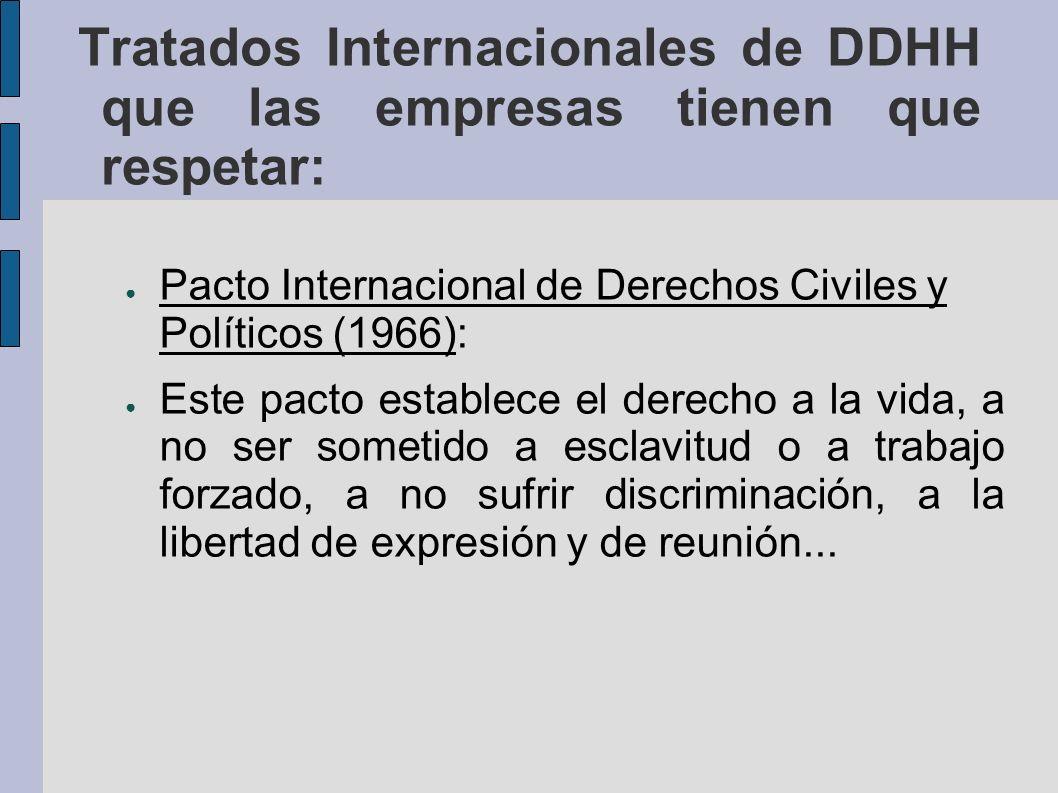 Tratados Internacionales de DDHH que las empresas tienen que respetar: Convención Internacional Sobre la Eliminación de Todas las Formas de Discriminación Racial (1966) Convención Sobre la Eliminación de Todas las Formas de Discriminación Contra la Mujer (1979).