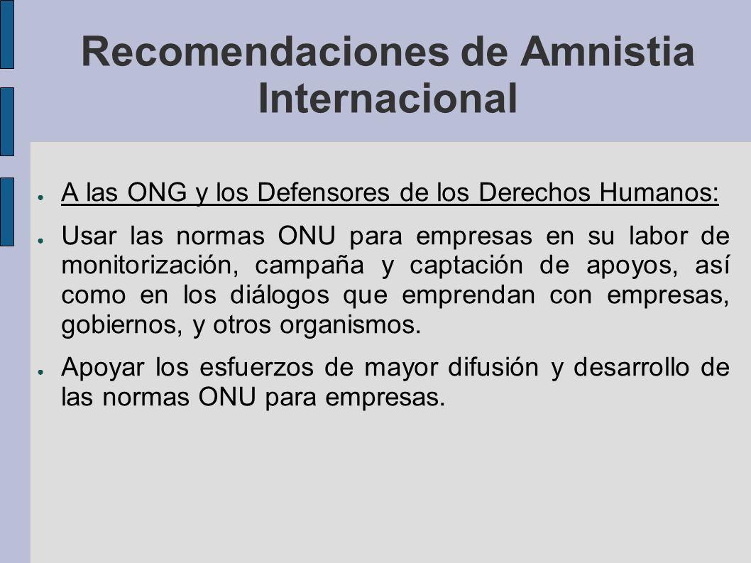 Recomendaciones de Amnistia Internacional A las ONG y los Defensores de los Derechos Humanos: Usar las normas ONU para empresas en su labor de monitorización, campaña y captación de apoyos, así como en los diálogos que emprendan con empresas, gobiernos, y otros organismos.