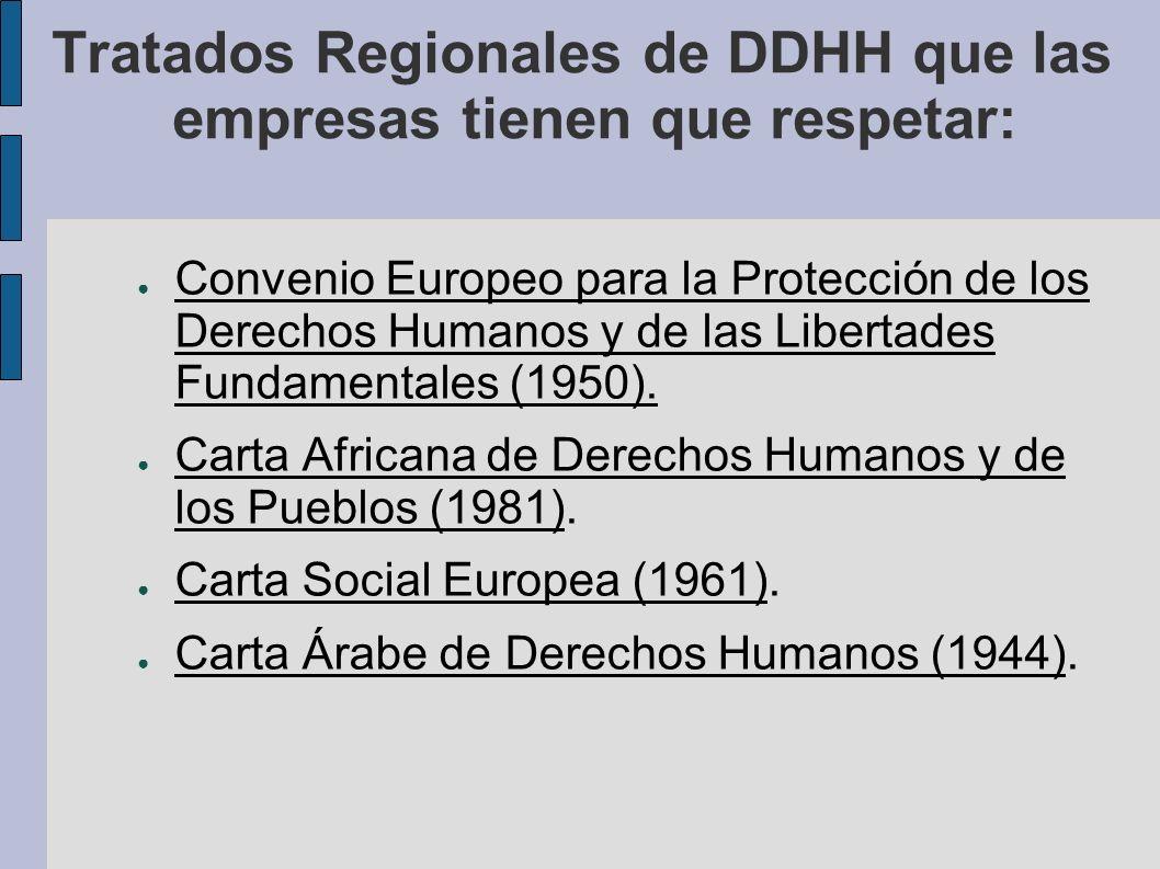Tratados Internacionales de DDHH que las empresas tienen que respetar: Convención Americana sobre Derechos Humanos (1969).