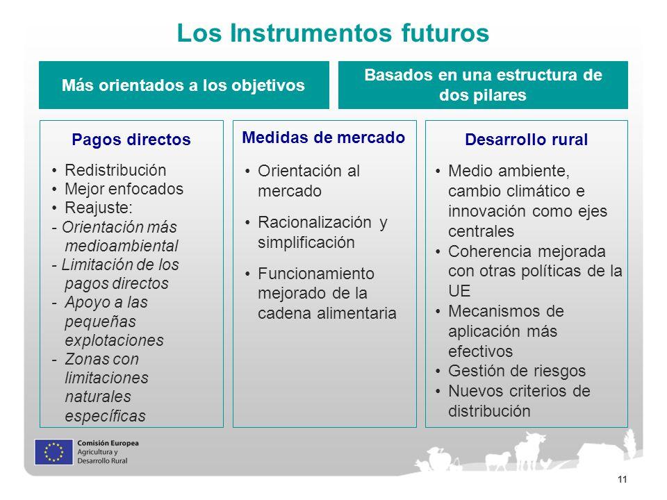 11 Los Instrumentos futuros Más orientados a los objetivos Basados en una estructura de dos pilares Pagos directos Medidas de mercado Desarrollo rural
