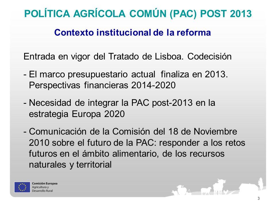 3 POLÍTICA AGRÍCOLA COMÚN (PAC) POST 2013 Contexto institucional de la reforma Entrada en vigor del Tratado de Lisboa. Codecisión -El marco presupuest