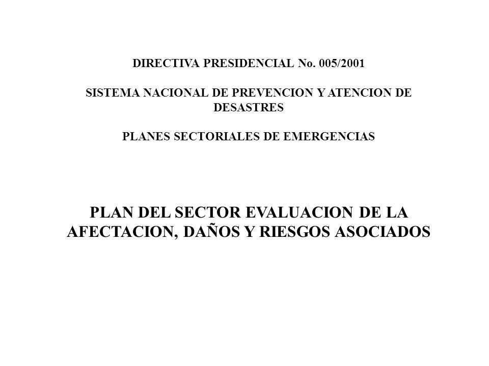 DIRECTIVA PRESIDENCIAL No. 005/2001 SISTEMA NACIONAL DE PREVENCION Y ATENCION DE DESASTRES PLANES SECTORIALES DE EMERGENCIAS PLAN DEL SECTOR EVALUACIO