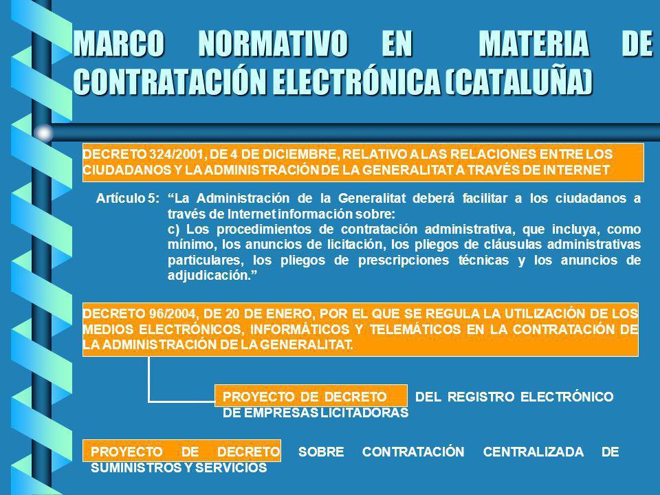 MARCO NORMATIVO EN MATERIA DE CONTRATACIÓN ELECTRÓNICA (CATALUÑA) DECRETO 324/2001, DE 4 DE DICIEMBRE, RELATIVO A LAS RELACIONES ENTRE LOS CIUDADANOS Y LA ADMINISTRACIÓN DE LA GENERALITAT A TRAVÉS DE INTERNET DECRETO 96/2004, DE 20 DE ENERO, POR EL QUE SE REGULA LA UTILIZACIÓN DE LOS MEDIOS ELECTRÓNICOS, INFORMÁTICOS Y TELEMÁTICOS EN LA CONTRATACIÓN DE LA ADMINISTRACIÓN DE LA GENERALITAT.