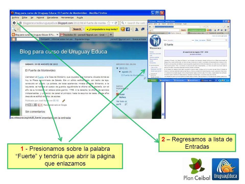 1 - Presionamos sobre la palabra Fuerte y tendría que abrir la página que enlazamos 2 – Regresamos a lista de Entradas