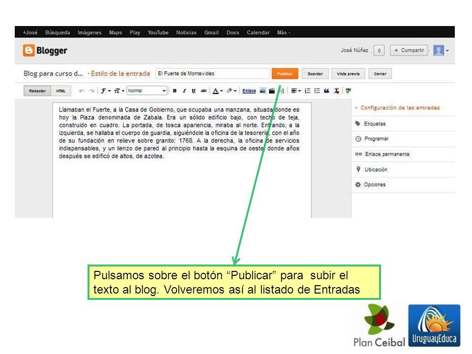 Al el cursor sobre el título de la Entrada que escribimos, se despliegan cuatro opciones para trabajar sobre ella: eliminar, editar, compartirrla mediante correo electrónico, y visualizar.