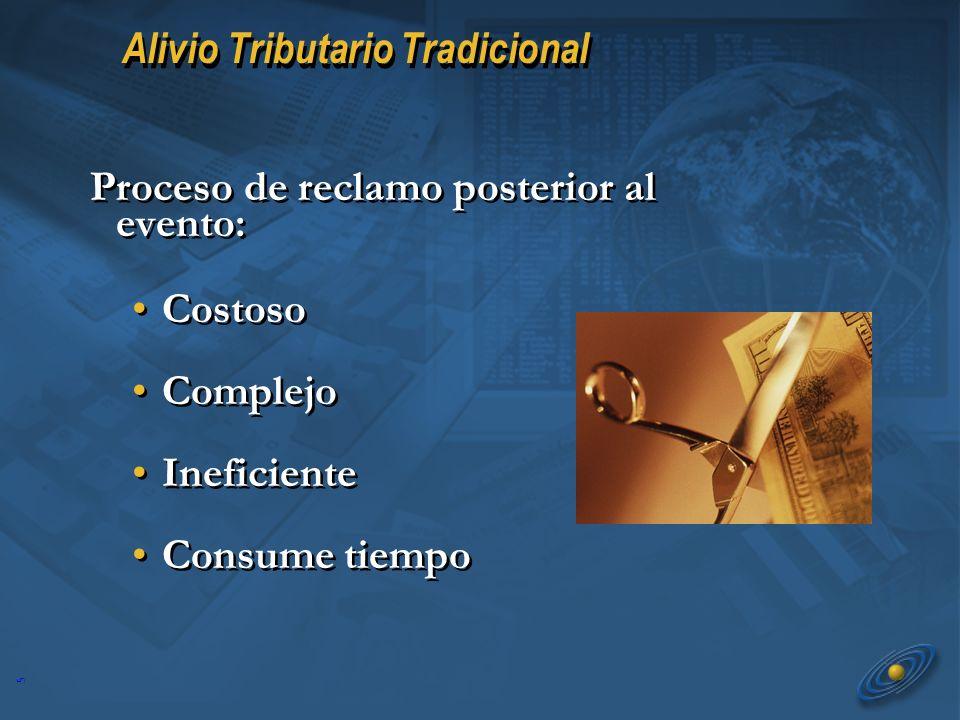 5 Alivio Tributario Tradicional Proceso de reclamo posterior al evento: Costoso Complejo Ineficiente Consume tiempo Costoso Complejo Ineficiente Consume tiempo