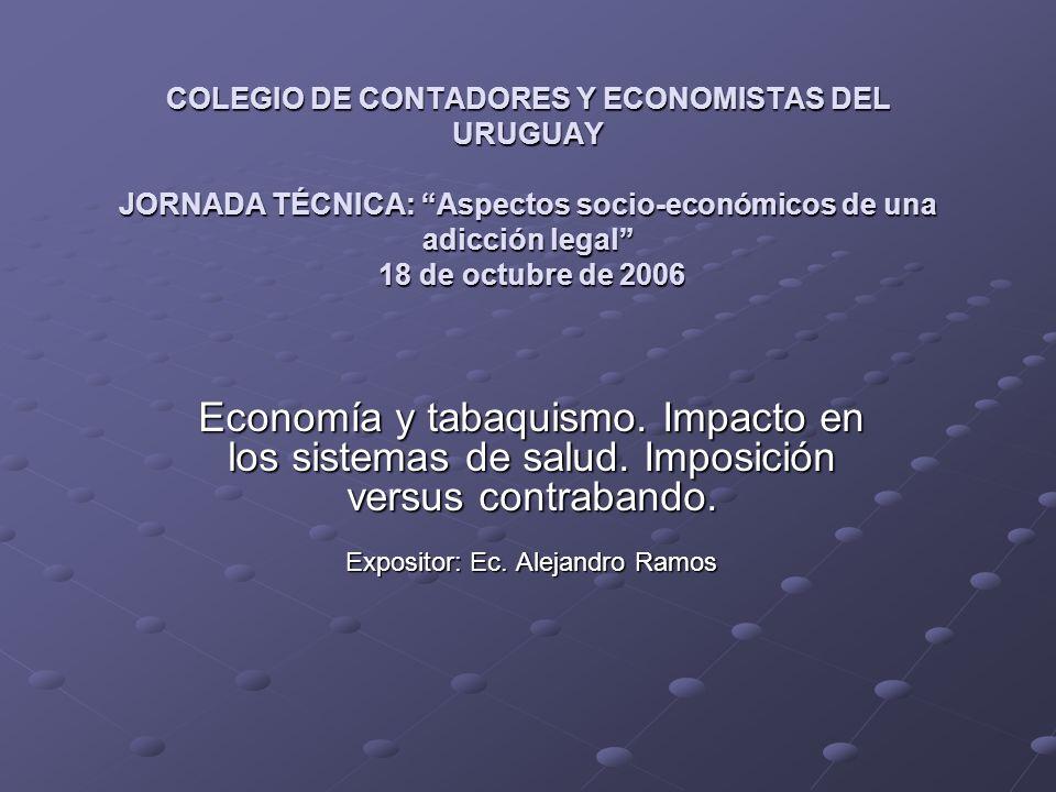 COLEGIO DE CONTADORES Y ECONOMISTAS DEL URUGUAY JORNADA TÉCNICA: Aspectos socio-económicos de una adicción legal 18 de octubre de 2006 Economía y tabaquismo.