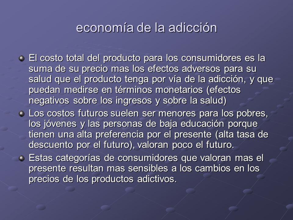 economía de la adicción El costo total del producto para los consumidores es la suma de su precio mas los efectos adversos para su salud que el produc