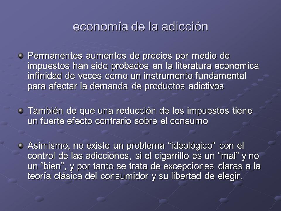 economía de la adicción Permanentes aumentos de precios por medio de impuestos han sido probados en la literatura economica infinidad de veces como un
