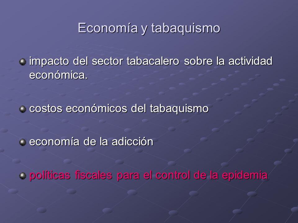 Economía y tabaquismo impacto del sector tabacalero sobre la actividad económica. costos económicos del tabaquismo economía de la adicción políticas f