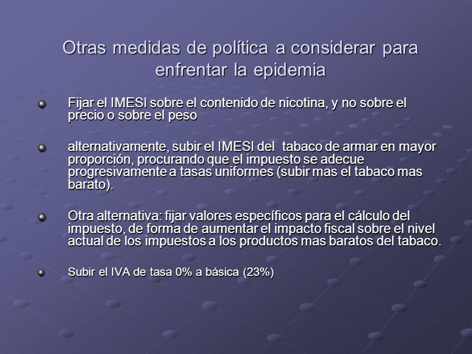 Otras medidas de política a considerar para enfrentar la epidemia Fijar el IMESI sobre el contenido de nicotina, y no sobre el precio o sobre el peso