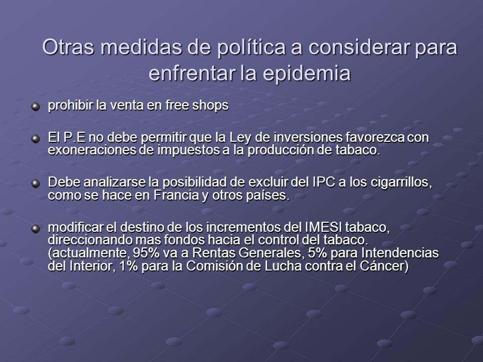 Otras medidas de política a considerar para enfrentar la epidemia prohibir la venta en free shops El P.E no debe permitir que la Ley de inversiones favorezca con exoneraciones de impuestos a la producción de tabaco.