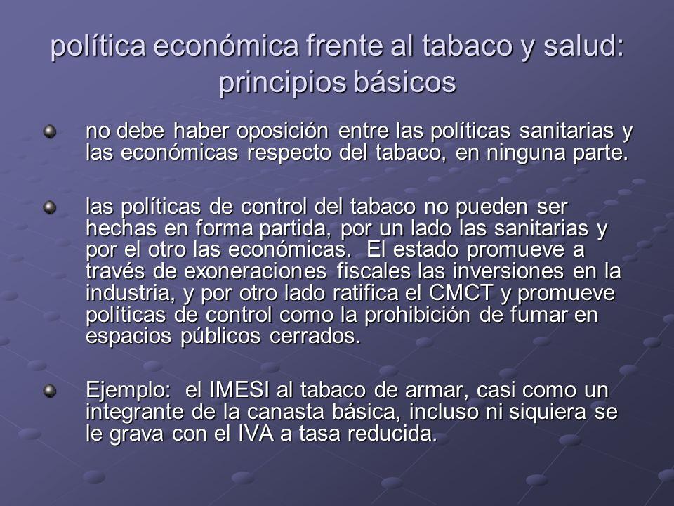 política económica frente al tabaco y salud: principios básicos no debe haber oposición entre las políticas sanitarias y las económicas respecto del tabaco, en ninguna parte.