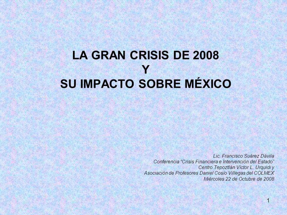 1 LA GRAN CRISIS DE 2008 Y SU IMPACTO SOBRE MÉXICO Lic.