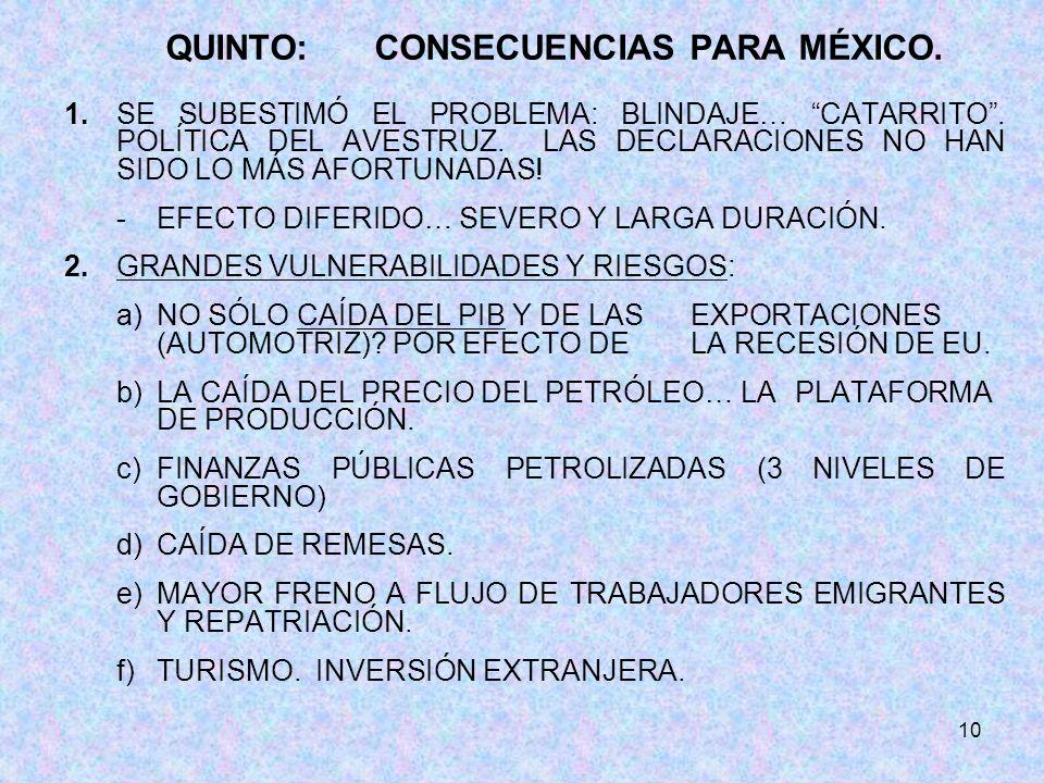 10 QUINTO:CONSECUENCIAS PARA MÉXICO. 1. SE SUBESTIMÓ EL PROBLEMA: BLINDAJE… CATARRITO.