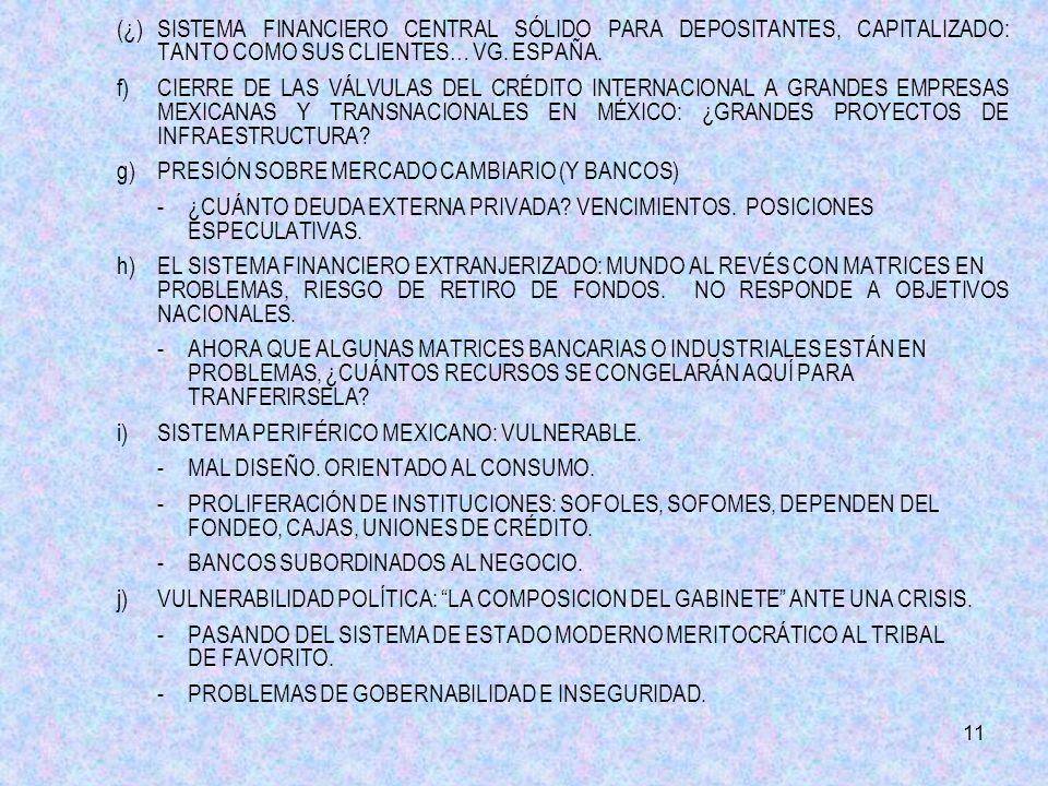 11 (¿)SISTEMA FINANCIERO CENTRAL SÓLIDO PARA DEPOSITANTES, CAPITALIZADO: TANTO COMO SUS CLIENTES… VG.