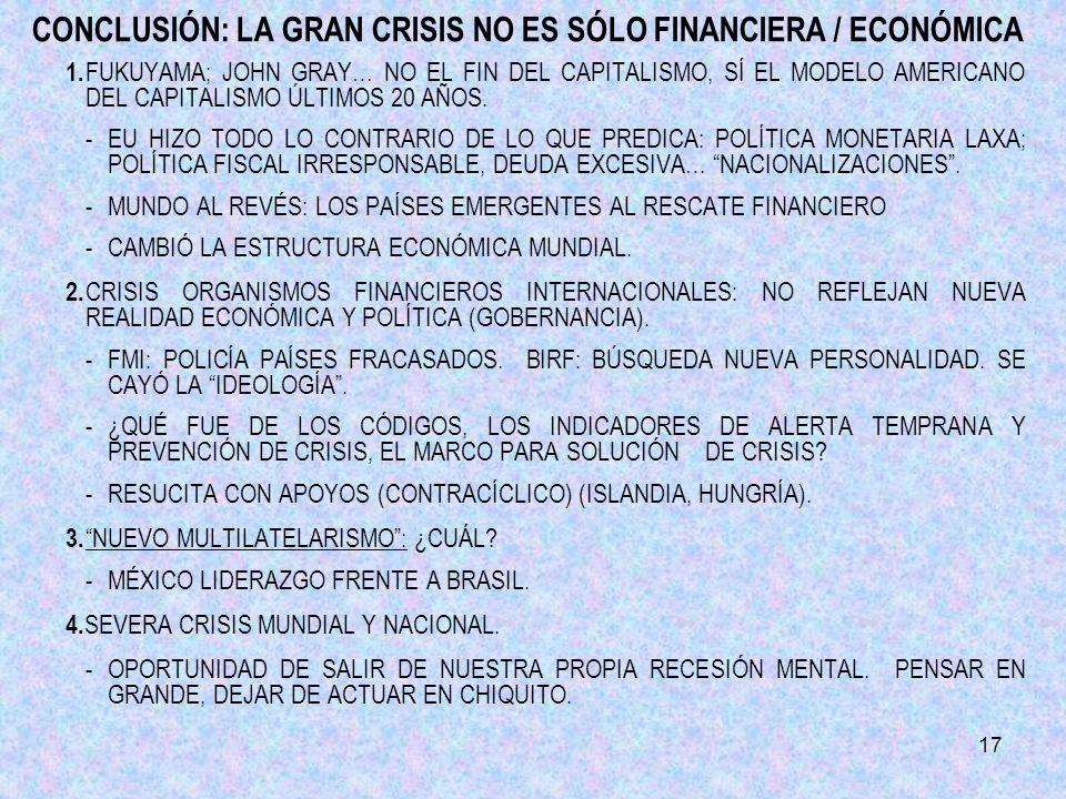 17 CONCLUSIÓN: LA GRAN CRISIS NO ES SÓLO FINANCIERA / ECONÓMICA 1.