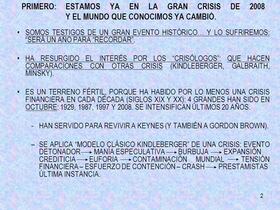 2 PRIMERO:ESTAMOS YA EN LA GRAN CRISIS DE 2008 Y EL MUNDO QUE CONOCIMOS YA CAMBIÓ.