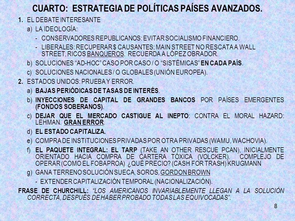 8 CUARTO: ESTRATEGIA DE POLÍTICAS PAÍSES AVANZADOS.