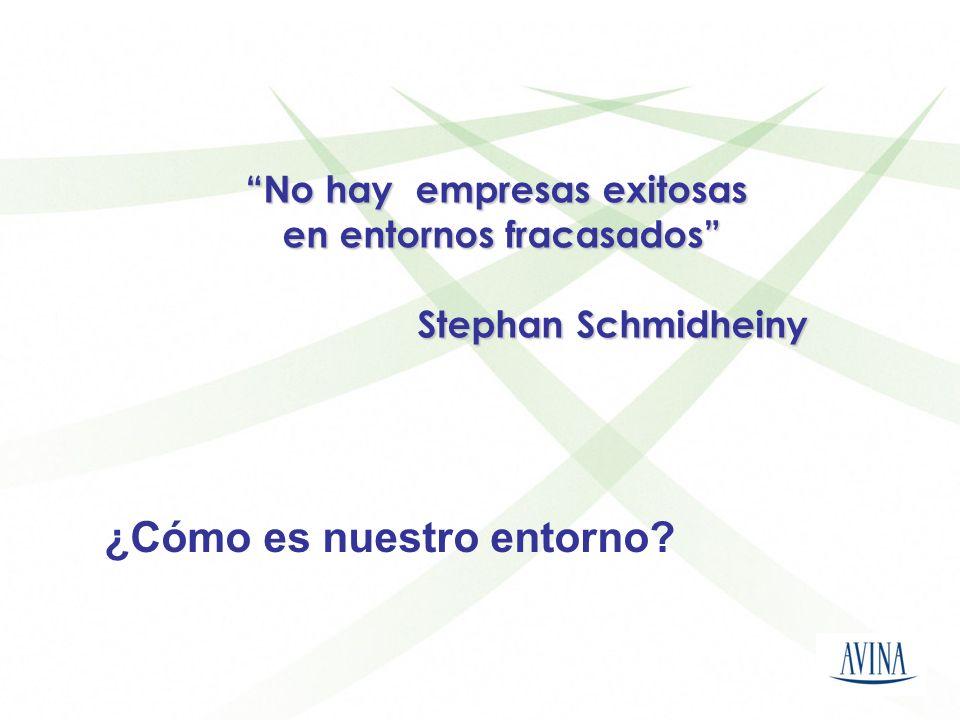 No hay empresas exitosas en entornos fracasados en entornos fracasados Stephan Schmidheiny Stephan Schmidheiny ¿Cómo es nuestro entorno?