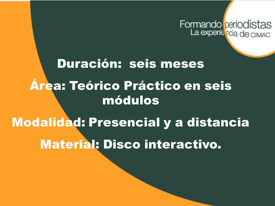 Duración: seis meses Área: Teórico Práctico en seis módulos Modalidad: Presencial y a distancia Material: Disco interactivo.