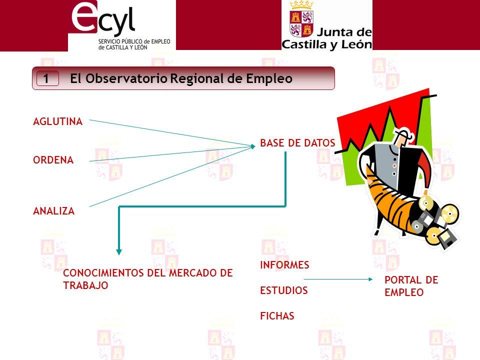 AGLUTINA ORDENA ANALIZA El Observatorio Regional de Empleo 1 BASE DE DATOS CONOCIMIENTOS DEL MERCADO DE TRABAJO INFORMES ESTUDIOS FICHAS PORTAL DE EMPLEO