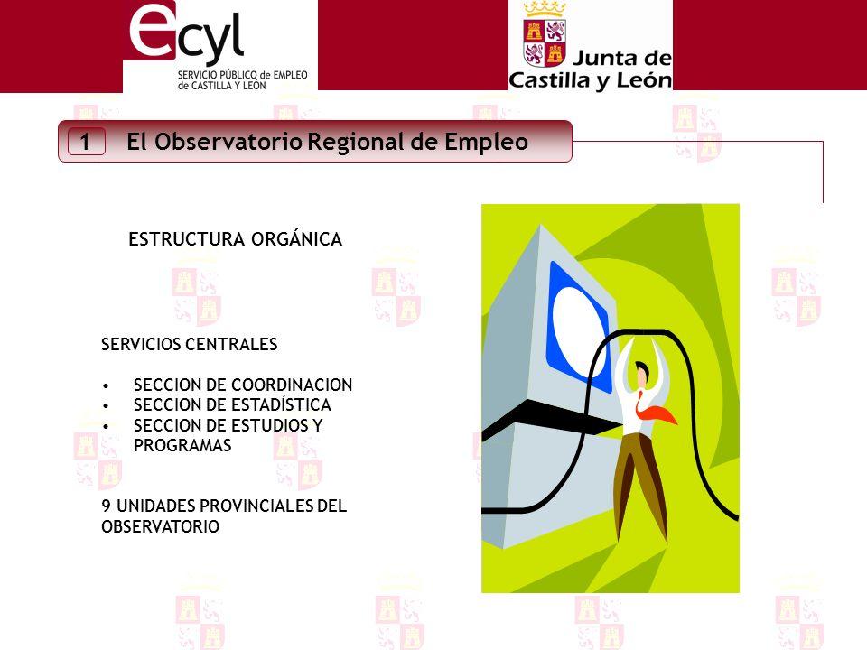 El Observatorio Regional de Empleo 1 ESTRUCTURA ORGÁNICA SERVICIOS CENTRALES SECCION DE COORDINACION SECCION DE ESTADÍSTICA SECCION DE ESTUDIOS Y PROGRAMAS 9 UNIDADES PROVINCIALES DEL OBSERVATORIO