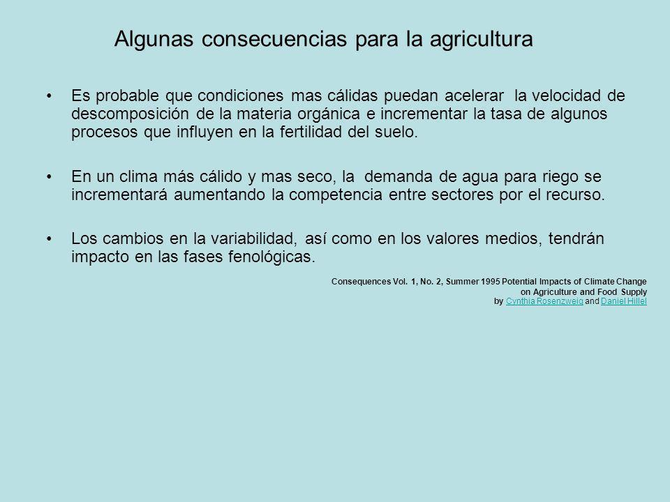 Algunas consecuencias para la agricultura Es probable que condiciones mas cálidas puedan acelerar la velocidad de descomposición de la materia orgánic