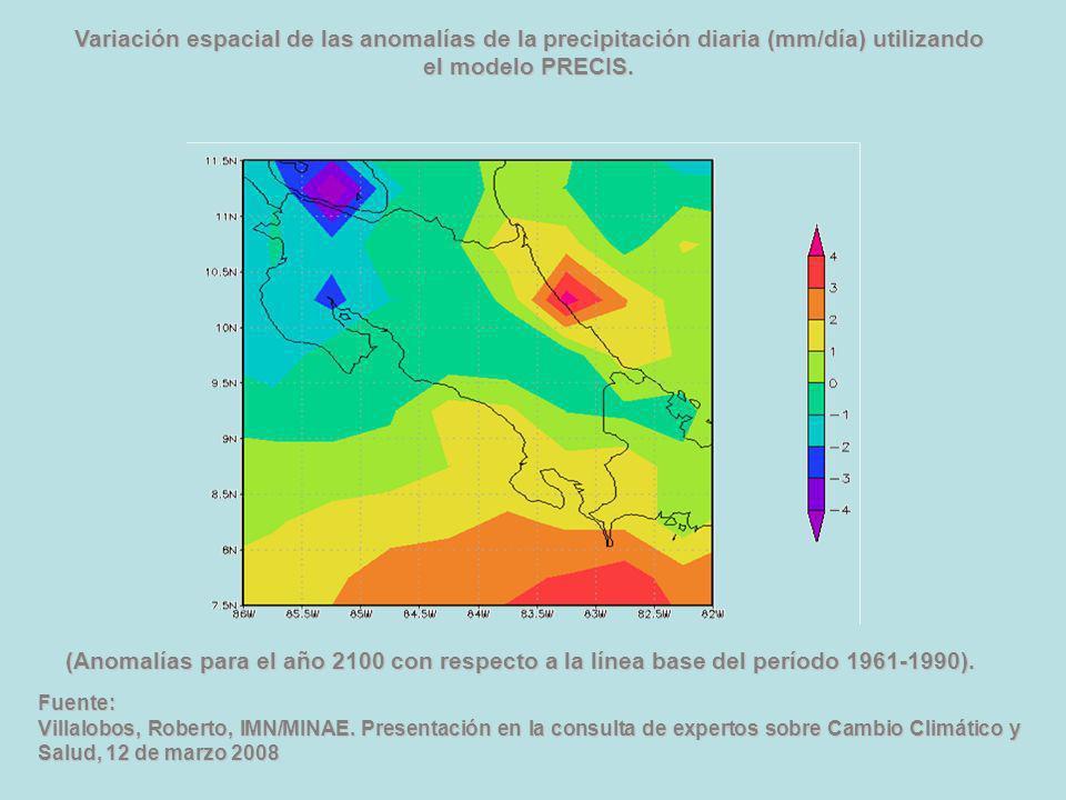 Variación espacial de las anomalías de la precipitación diaria (mm/día) utilizando el modelo PRECIS. Fuente: Villalobos, Roberto, IMN/MINAE. Presentac
