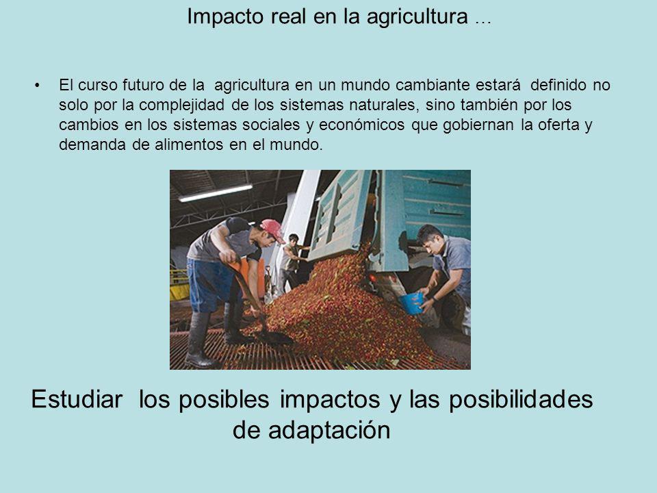 Impacto real en la agricultura … El curso futuro de la agricultura en un mundo cambiante estará definido no solo por la complejidad de los sistemas na