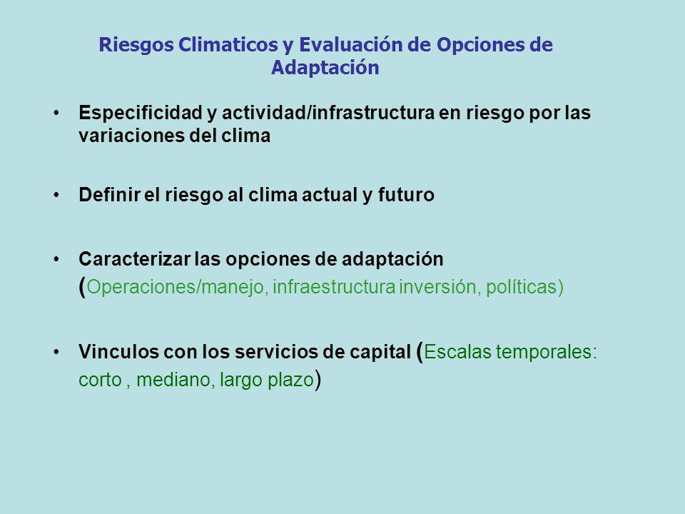 Especificidad y actividad/infrastructura en riesgo por las variaciones del clima Definir el riesgo al clima actual y futuro Caracterizar las opciones