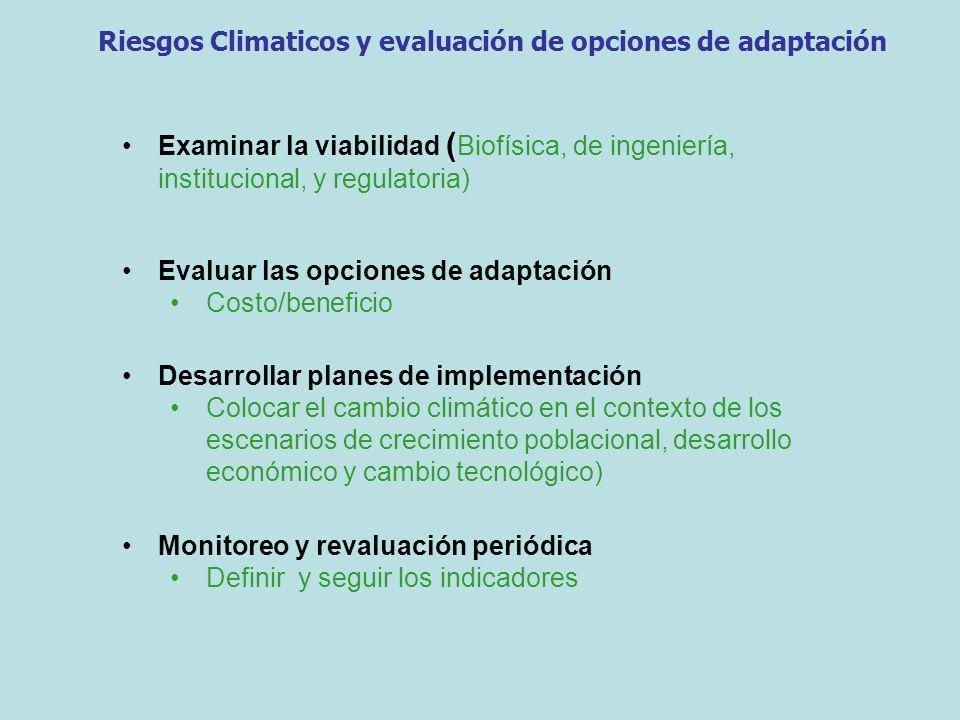Examinar la viabilidad ( Biofísica, de ingeniería, institucional, y regulatoria) Evaluar las opciones de adaptación Costo/beneficio Desarrollar planes