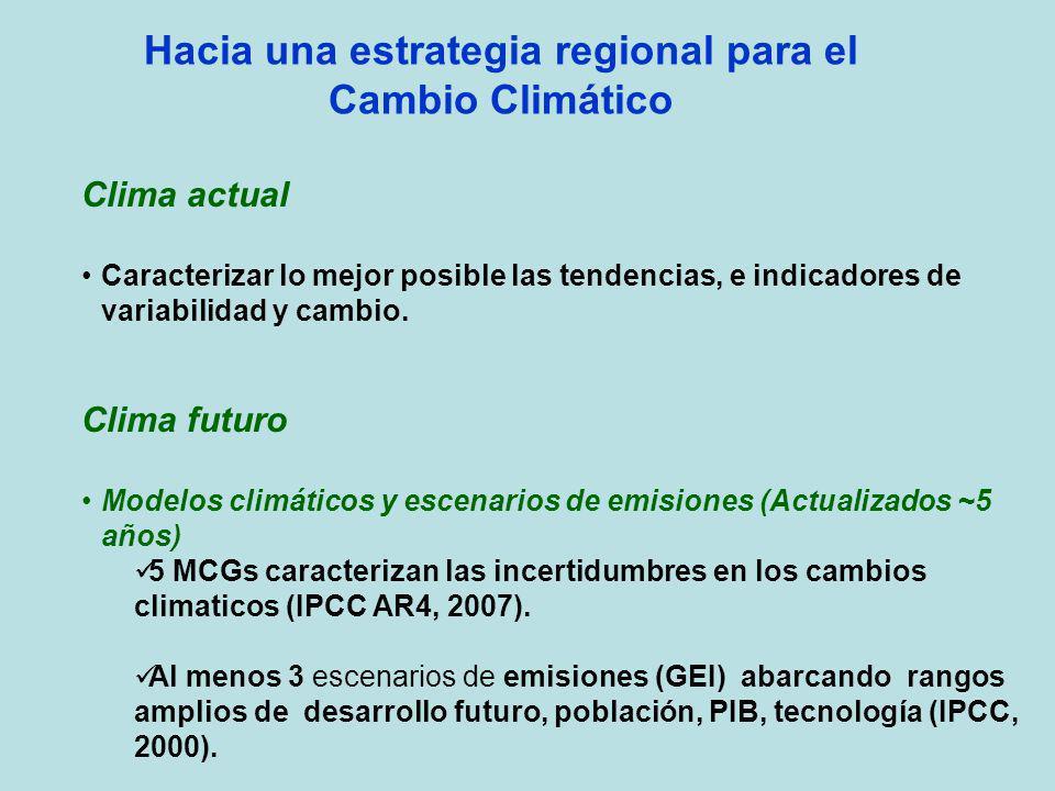 Hacia una estrategia regional para el Cambio Climático Clima actual Caracterizar lo mejor posible las tendencias, e indicadores de variabilidad y camb