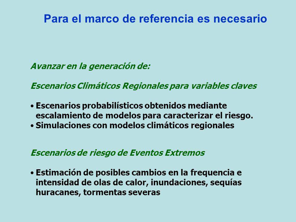 Para el marco de referencia es necesario Avanzar en la generación de: Escenarios Climáticos Regionales para variables claves Escenarios probabilístico