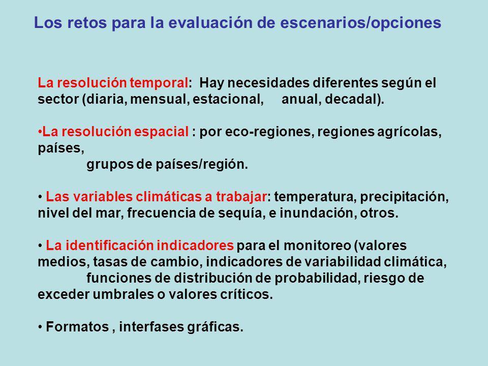 Los retos para la evaluación de escenarios/opciones La resolución temporal: Hay necesidades diferentes según el sector (diaria, mensual, estacional, a