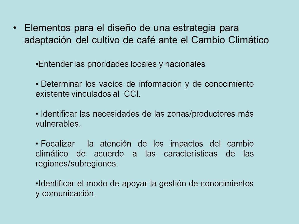 Elementos para el diseño de una estrategia para adaptación del cultivo de café ante el Cambio Climático Entender las prioridades locales y nacionales