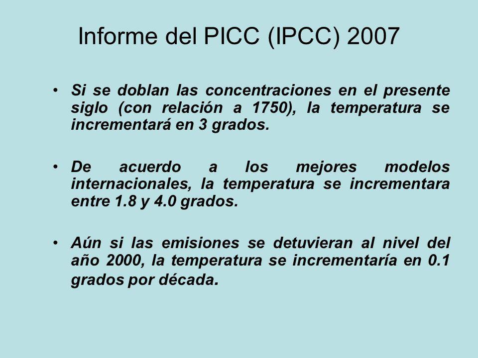 Informe del PICC (IPCC) 2007 Si se doblan las concentraciones en el presente siglo (con relación a 1750), la temperatura se incrementará en 3 grados.