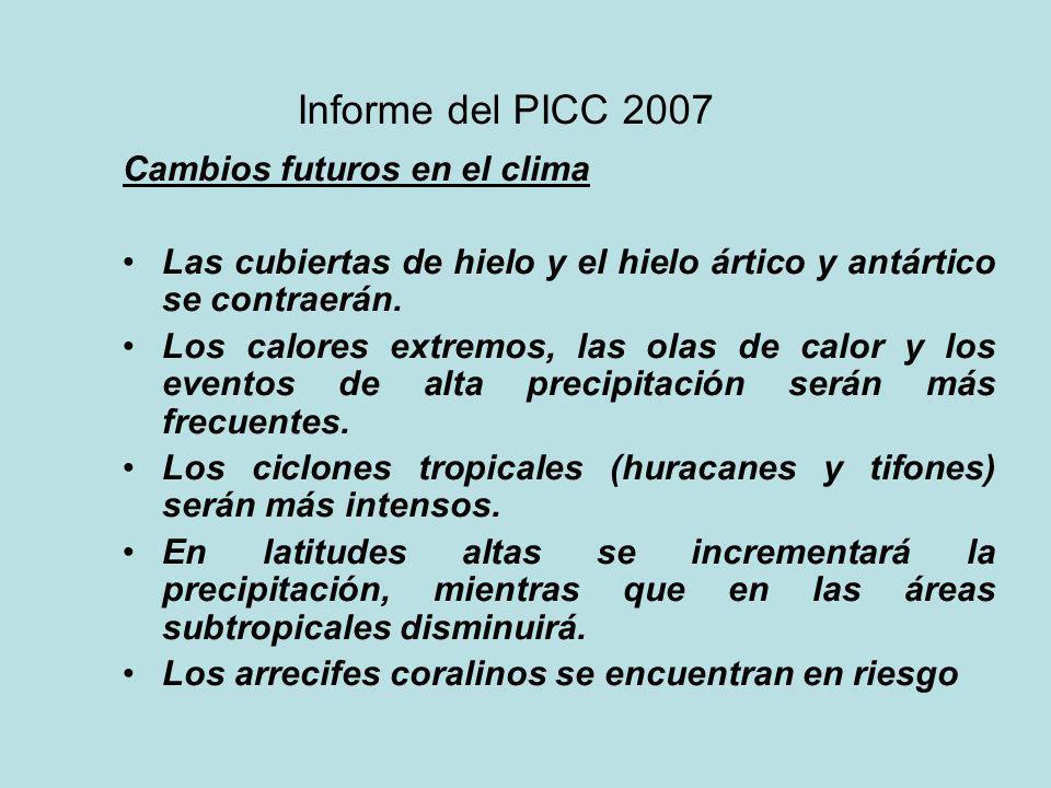 Informe del PICC 2007 Cambios futuros en el clima Las cubiertas de hielo y el hielo ártico y antártico se contraerán. Los calores extremos, las olas d