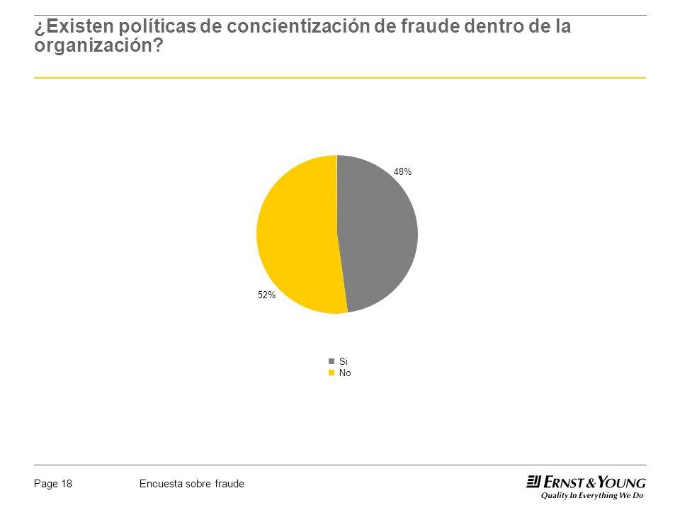 Encuesta sobre fraudePage 18 ¿Existen políticas de concientización de fraude dentro de la organización? 48% 52% Si No