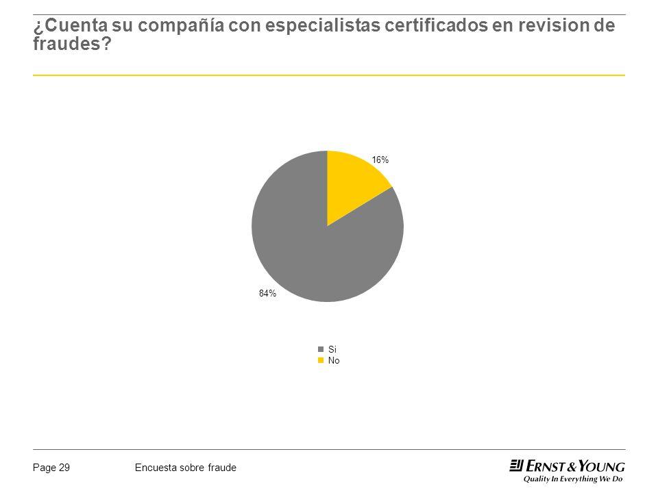 Encuesta sobre fraudePage 29 ¿Cuenta su compañía con especialistas certificados en revision de fraudes? 16% 84% Si No