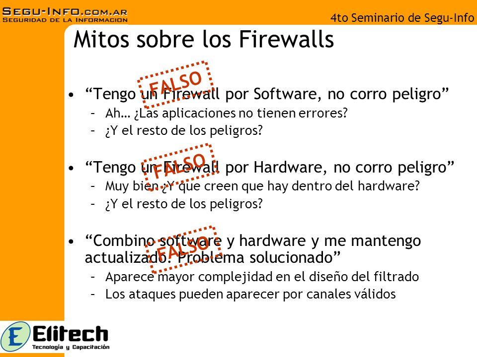 4to Seminario de Segu-Info Mitos sobre los Firewalls Tengo un Firewall por Software, no corro peligro –Ah… ¿Las aplicaciones no tienen errores.