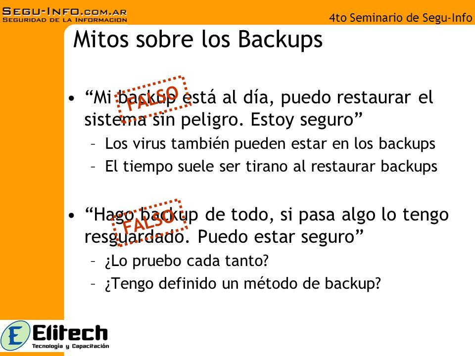 4to Seminario de Segu-Info Mito de las Fork Bombs Las fork bombs son cosa del pasado –Mayo 2007: Tema candente en la blogosfera y Kriptopolis –En Linux (bash) Ejemplo: :(){ :|: & };: Prevención: limitar el número máximo de procesos por usuario –En Windows (BAT) :s start 0% goto :s FALSO