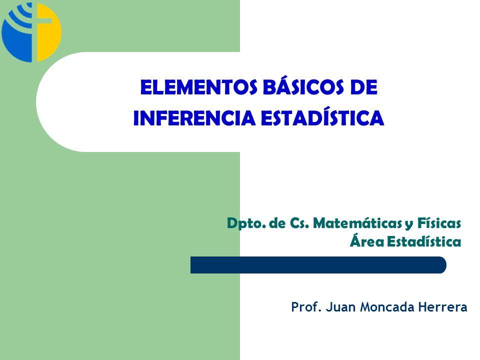 ELEMENTOS BÁSICOS DE INFERENCIA ESTADÍSTICA Dpto. de Cs. Matemáticas y Físicas Área Estadística Prof. Juan Moncada Herrera