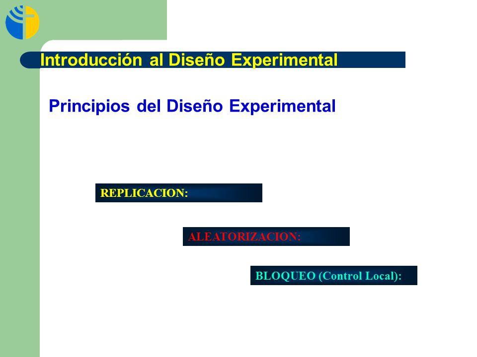 Principios del Diseño Experimental REPLICACION: ALEATORIZACION: BLOQUEO (Control Local): Introducción al Diseño Experimental