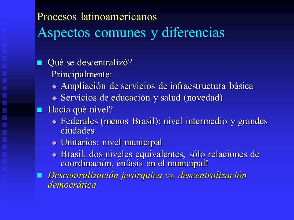 Procesos latinoamericanos Aspectos comunes y diferencias Qué se descentralizó.