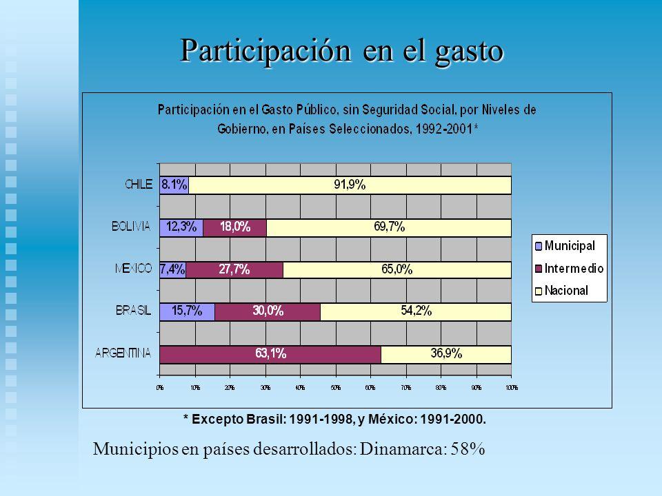 Participación en el gasto * Excepto Brasil: 1991-1998, y México: 1991-2000.