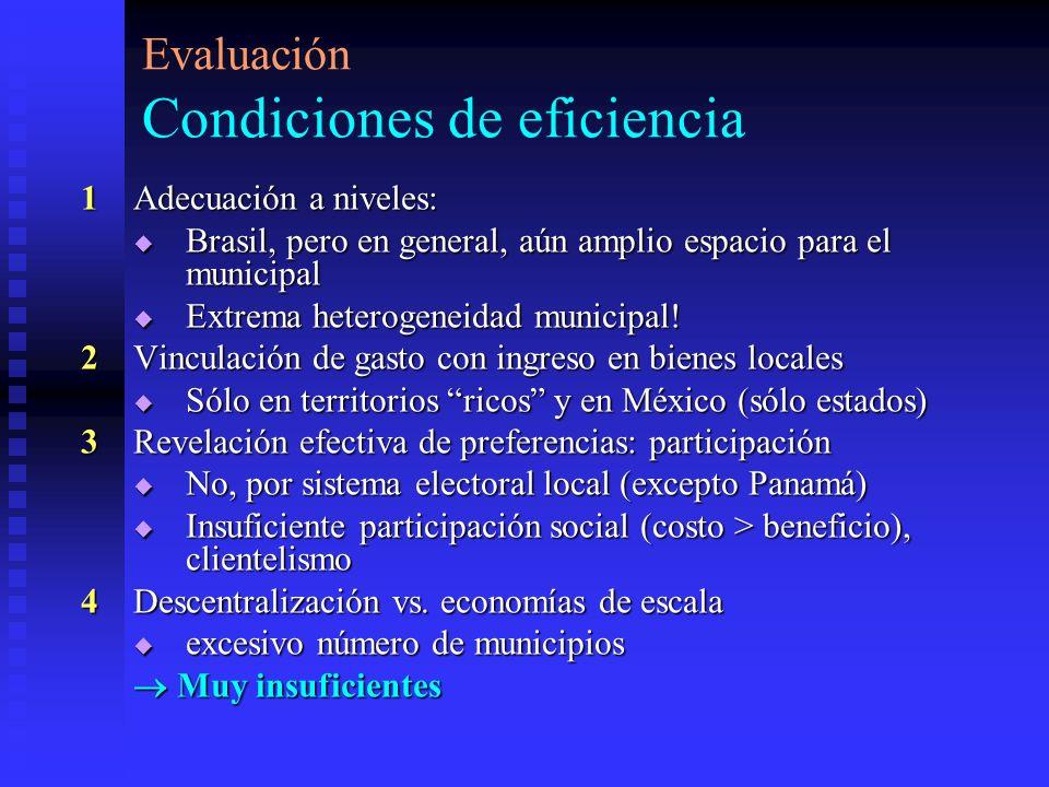 Evaluación Condiciones de eficiencia 1Adecuación a niveles: Brasil, pero en general, aún amplio espacio para el municipal Brasil, pero en general, aún amplio espacio para el municipal Extrema heterogeneidad municipal.